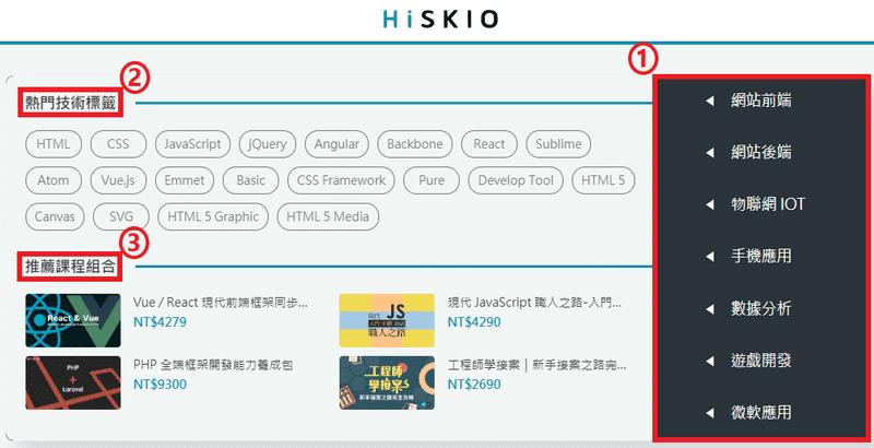 HiSKIO 課程分類