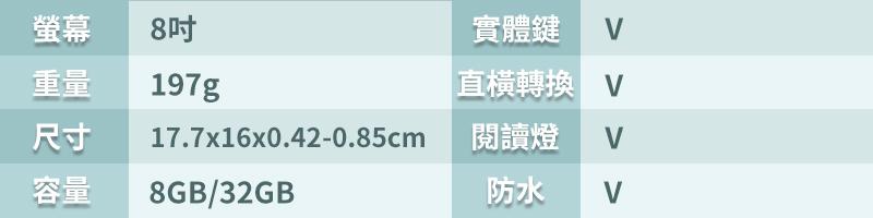 Kobo Forma 8吋資訊